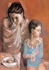 """Μια μαμά, ειδικότερα η κοινωνικά απομονωμένη, μπορεί να περιμένει από τα παιδιά της να τη στηρίξουν, να της δώσουν την ικανοποίηση που ο άνδρας της δε μπορεί να δώσει. (Φωτ: """"Unhappy mother and child, Pablo Picasso)"""